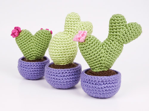 Heart Cactus Collection crochet patterns by PlanetJune
