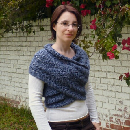 eyelet ripple scarf sweater crochet pattern by planetjune