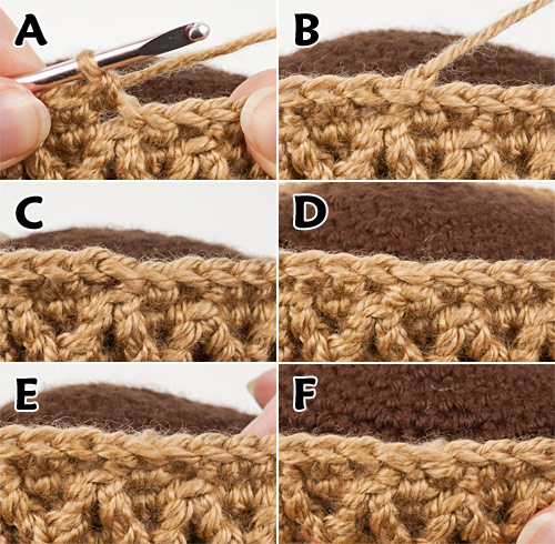 candidates for the most invisible finish around an open edge in amigurumi, by PlanetJune