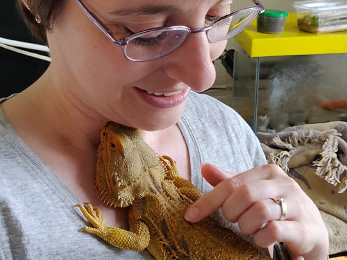 June with a bearded dragon