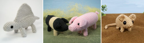 amigurumi animals whose legs are separate at the point where they join the body (patterns by planetjune)