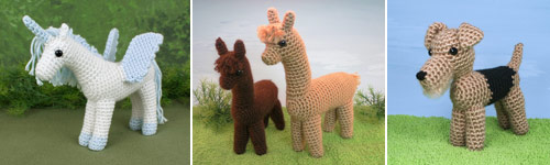 amigurumi animals whose legs touch at the point where they join the body (patterns by planetjune)