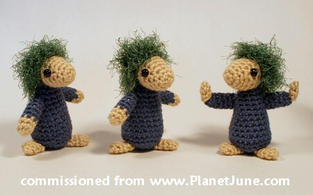 commissioned set of crocheted lemmings by planetjune