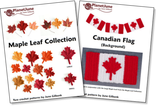Maple Leaf Collection and free bonus Canadian Flag background crochet pattern