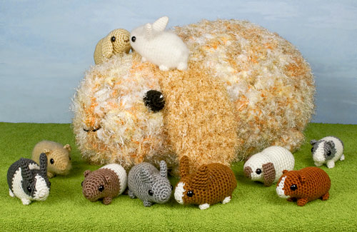 Mega Bun extreme amigurumi (made from Baby Bunnies crochet pattern) with Baby Bunnies and Baby Guinea Pigs, crochet patterns by PlanetJune