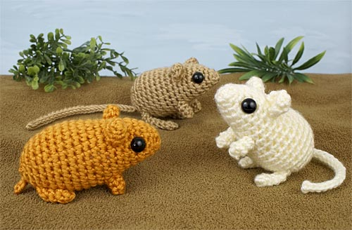 Mini Mammals 2 crochet expansion pack pattern by PlanetJune - crochet an adorable Hamster, Gerbil and Kangaroo Rat