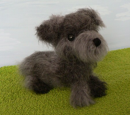 crocheted miniature schnauzer puppy by planetjune