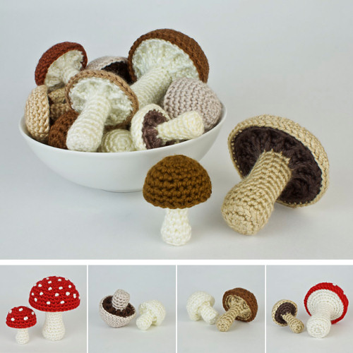 Mushroom Collection & Variations crochet patterns by PlanetJune