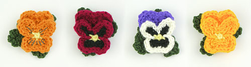 pansy pins from pansies crochet pattern by planetjune