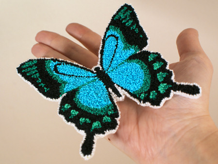 punchneedle butterfly: sea green swallowtail by planetjune