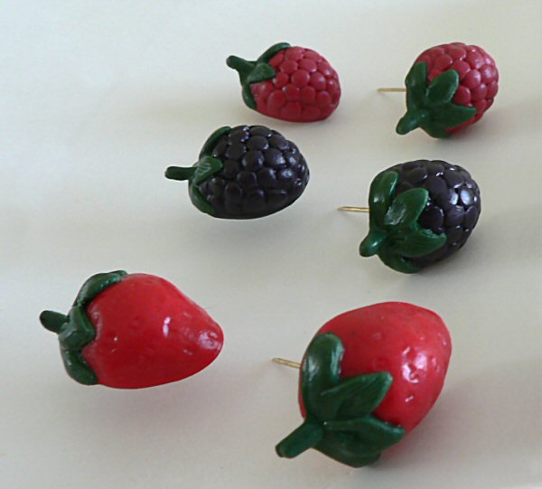 polymer clay berry pins - strawberries, blackberries, raspberries