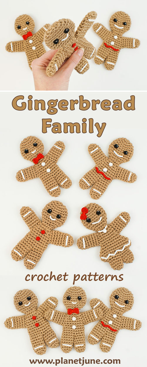 Gingerbread Family crochet patterns by PlanetJune - Gingerbread Man and Gingerbread Girl