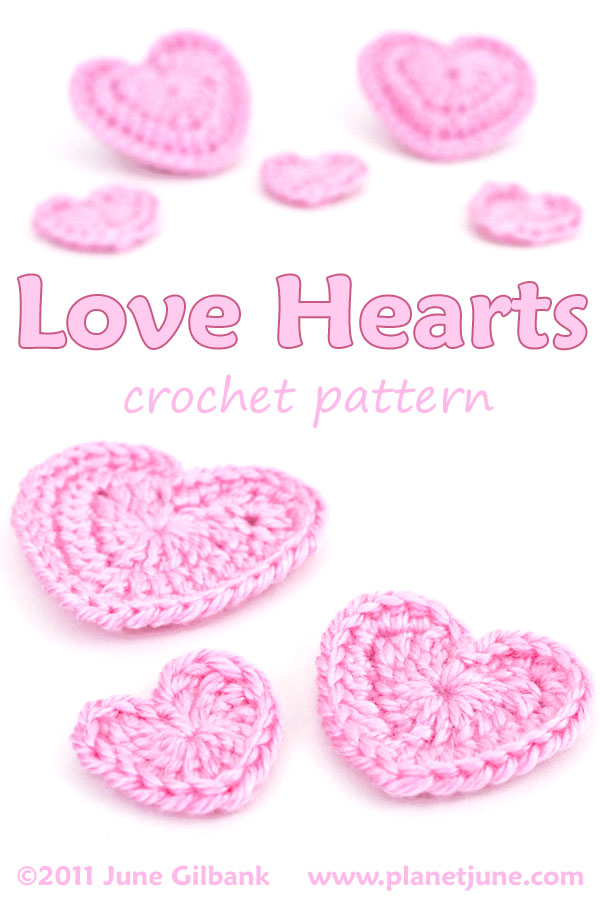 free Love Hearts crochet pattern by PlanetJune - make beautiful hearts in 3 different sizes
