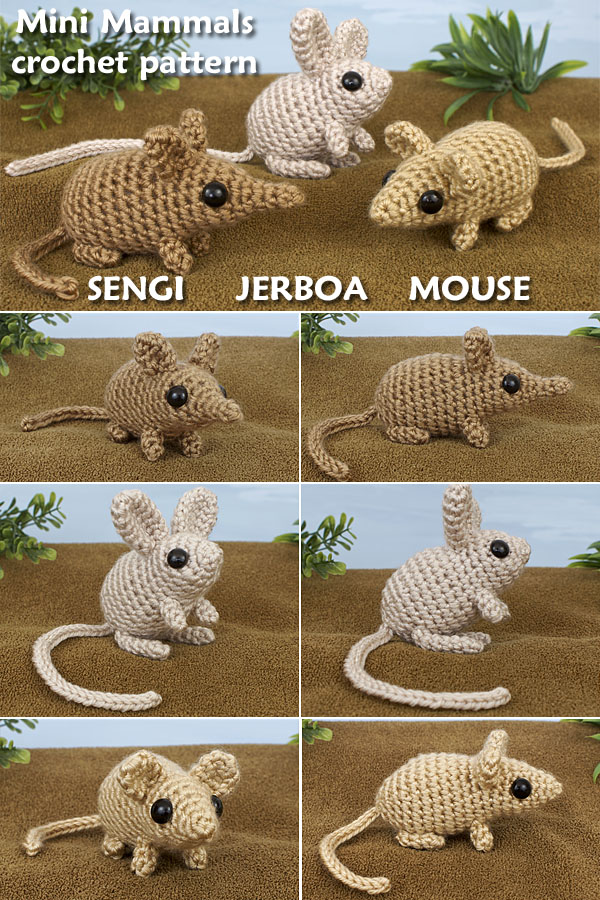 Mini Mammals crochet pattern by PlanetJune - crochet an adorable Sengi, Jerboa and Mouse
