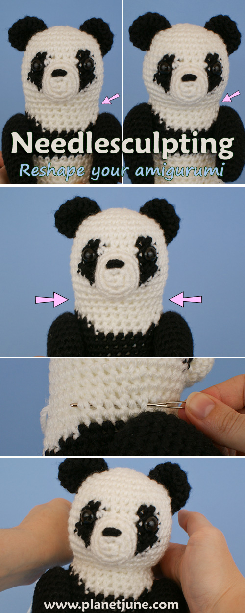 Needlesculpting tutorial for amigurumi by PlanetJune - reshape your amigurumi with just needle and yarn!
