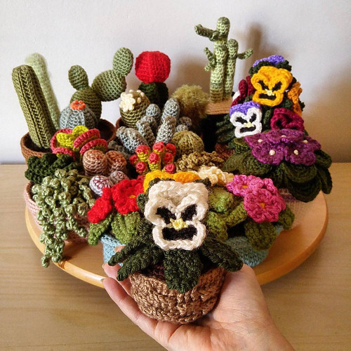 potted plant crochet patterns by PlanetJune
