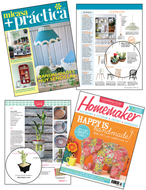 potted plant crochet patterns by PlanetJune, featured in MiCasa and Homemaker magazines