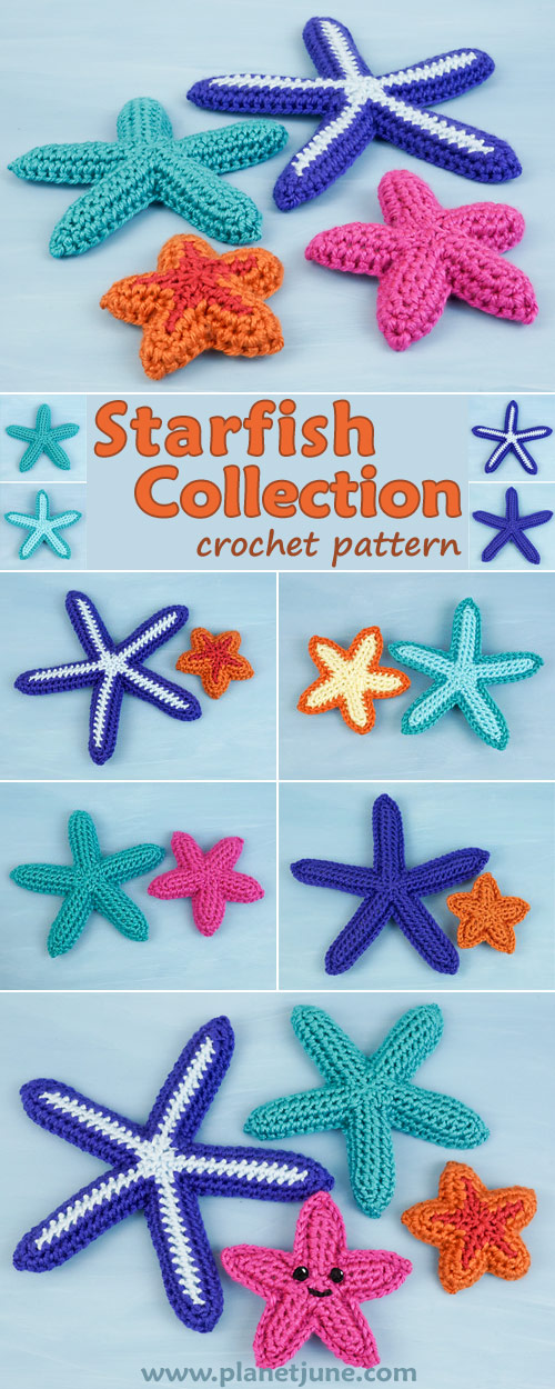 Starfish Collection crochet pattern by PlanetJune - mix-and-match 4 sizes, 3 patterns, flat or 3D, or add a happy amigurumi face