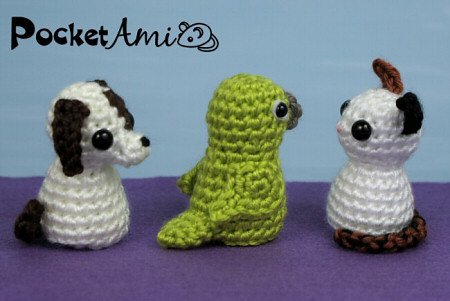 PocketAmi Set 6: Pets crochet patterns (puppy, parrot, kitten) by planetjune