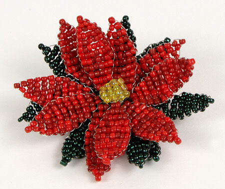 Victorian beaded poinsettia by planetjune