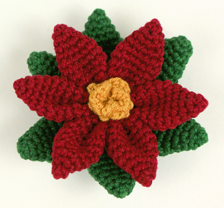 thread crochet poinsettia by planetjune