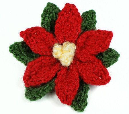 Simple Knitting Patterns Christmas Decorations : Blog   PlanetJune by June Gilbank   Knitted Poinsettia Pattern