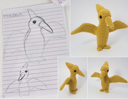 amigurumi pteranodon: from sketch to design