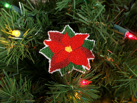 punchneedle poinsettia by planetjune