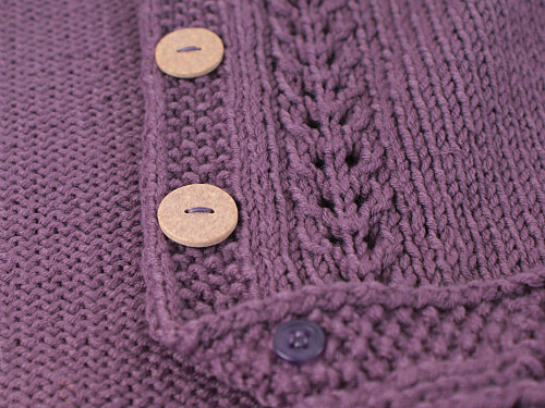 purple cardigan - detail