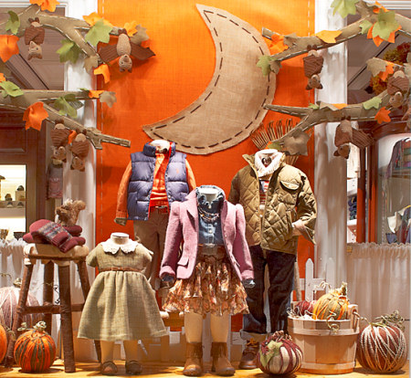 Ralph Lauren Children's Store window with PlanetJune Fruit Bats