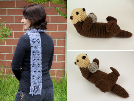 new scarf design and amigurumi sea otter by planetjune