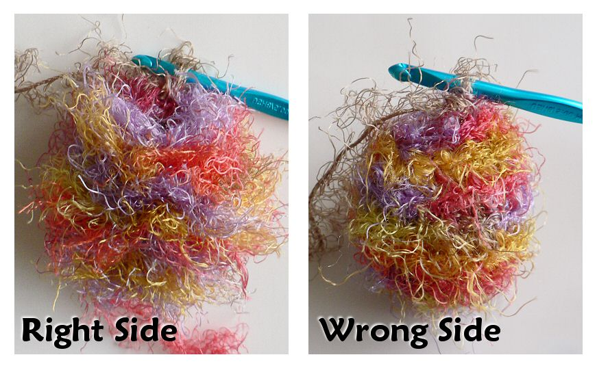 right and wrong sides of crocheted fuzzy amigurumi