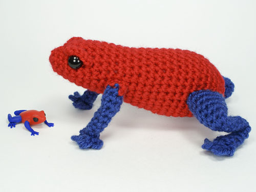 polymer clay frog, and amigurumi Poison Dart Frog crochet pattern, by PlanetJune