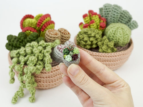polymer clay succulents, and Succulent crochet pattern, by PlanetJune