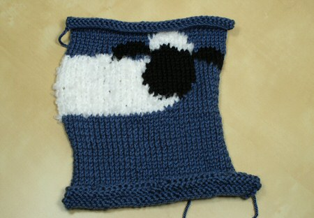 knooked shaun the sheep bag, pre-blocking