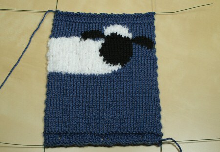 knooked shaun the sheep bag, wires attached for blocking