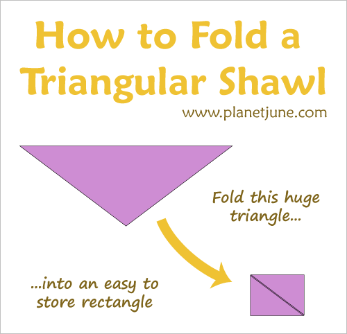 how to fold a triangular shawl by planetjune