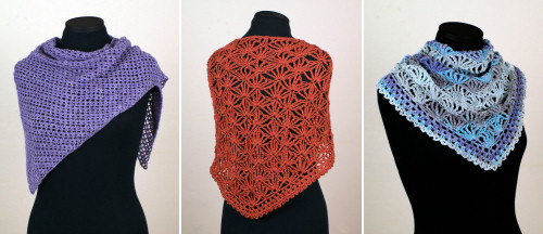 Cozy Mesh and Palm Leaves shawl crochet patterns by planetjune