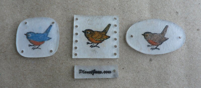 bird shrinkydinks, rubber stamped, coloured and punched