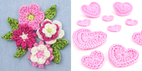 small embellishment ideas: Posy Blossoms and Love Hearts crochet patterns by PlanetJune