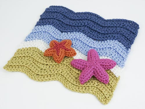 Starfish Collection & Turtle Beach blanket crochet patterns by PlanetJune