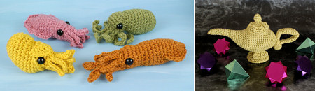 examples of chains and slip stitches in crocheted amigurumi