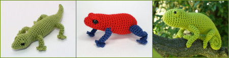 thin-legged reptile and amphibian crochet patterns by planetjune