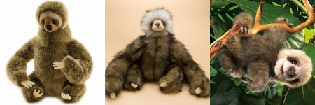 toy sloths from Hansa and Folkmanis