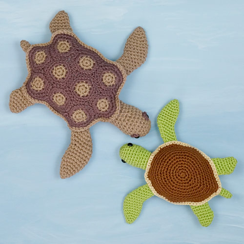 AquaAmi and Simple-Shell Sea Turtle crochet patterns by PlanetJune