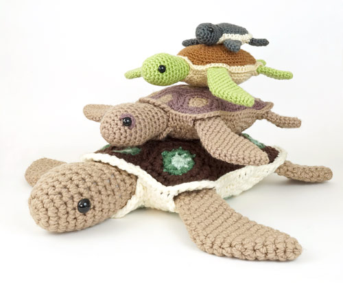 Baby Sea Turtle Collection, AquaAmi Sea Turtle and Simple-Shell Sea Turtle crochet patterns by PlanetJune