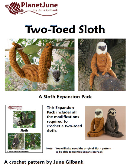 Two-Toed Sloth crochet pattern by PlanetJune