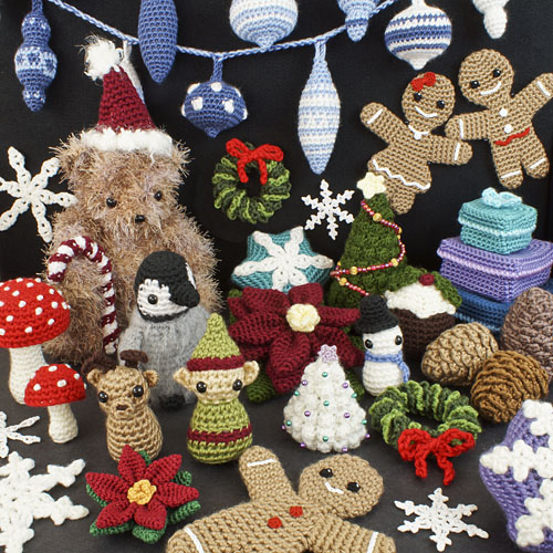 a selection of Christmas-themed PlanetJune crochet patterns