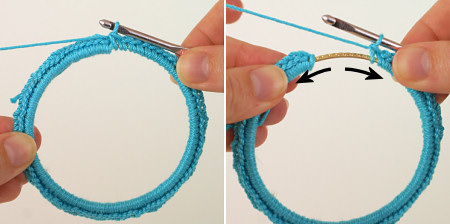 Twisted Chain Bangle crochet pattern, Figures 7-8