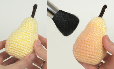amigurumi pear by planetjune - shaping the pear